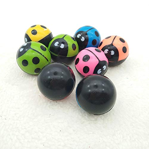 GonPi Toy Balls - 10pcs Children Toy Ball Colored Bouncing Ball Rubber Outdoor Toys Kids Sport Games Elastic Ladybug Juggling Jumping Balls (Ladybug Ball Pit)