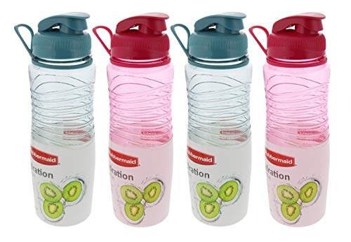 Rubbermaid Hydration Chug Bottles w/Flip-Top Lid-BPA Free, Odor & Stain Resistant-Great for On the Go-Finger Loop & Contoured for Easy Grip, 30oz, (2) Coastal Teal & (2) Magenta Fire (4 Pack) ()