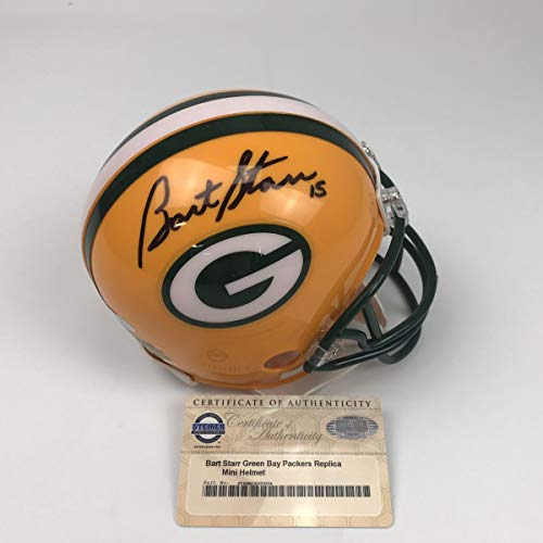 - Autographed/Signed Bart Starr Green Bay Packers Football Mini Helmet Steiner Sports COA