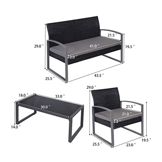 Tangkula 4 PCS Outdoor Patio Furniture Rattan Wicker Conversation Set, As pic - Attractive appearance: equipped with 1 loveseat, 2 chairs and 1 Coffee Table, It is made up with solid steel frame and PE wicker with sponge cushions ensuring a long lifetime. Its stylish armrests and moderate-reclining backrest double the comfort for you to totally relax yourself and make it more eye-catching. Easy carry: Made of lightweight Rattan material, it can be carried easily and labor-efficiently to the desired place. Its compact structure and beautiful texture can surprisingly highlight your patio or poolside Deco. Moment to clean: table with removable tempered glass adds a sophisticated touch and allows you to places drinks, meals and other accessories on top. And you can clean it easily with just a wipe when there is water strain on it. The separable Seat cushion also enables you a quick wash. - patio-furniture, patio, conversation-sets - 41eBykCa6dL. SS570  -