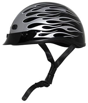 Zox Nano Custom Flame Graphic Open Face - Casco de moto (negro brillante/plata