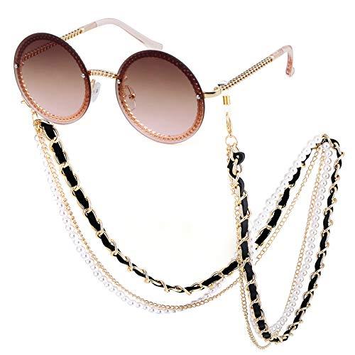 Round Rhinestone Sunglasses Women Metal Frame With Crystal ShadesSummer Sun glasses (Gold/Tea Pink+Chain, - Glass Round Chain