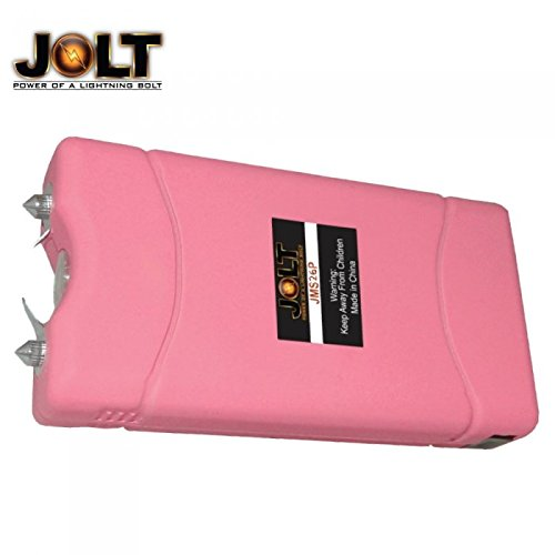JOLT Pink Heavy Duty 36 Million Volt Mini Stun Gun Flashlight Combo with Built-in Charger and Holster Carrying Case