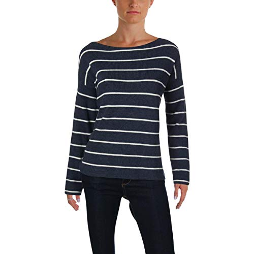 - VINCE CAMUTO Womens Asymmetrical Striped Pullover Sweater Blue L