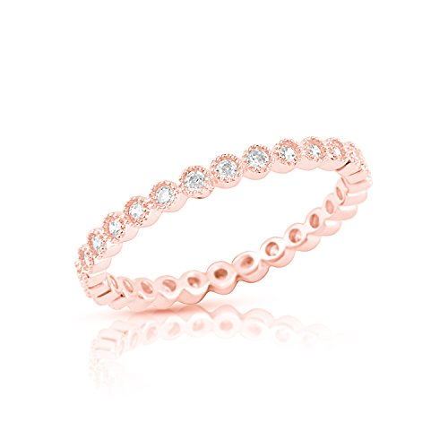 (Rose Gold Tone Sterling Silver Simulated Diamond Stackable Eternity Ring - Size 6)