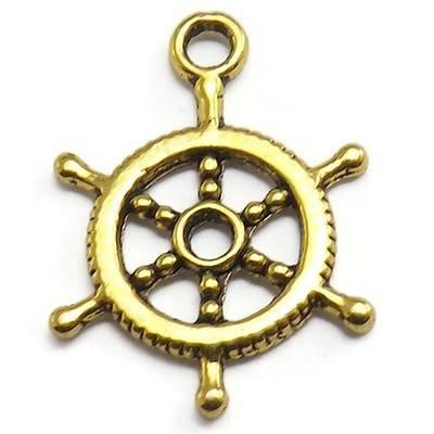 30 Ship Wheel Charms gold tone captain rudder