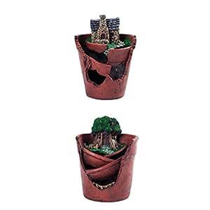 Homyl - Juego de 2 macetas colgantes, diseño de jardín con decoración de jardín