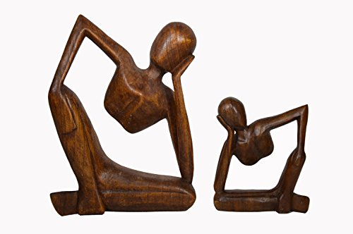 SET 2 Hand Carved THINKING MAN Statue Forever Abstract Art Wood Sculpture Carving
