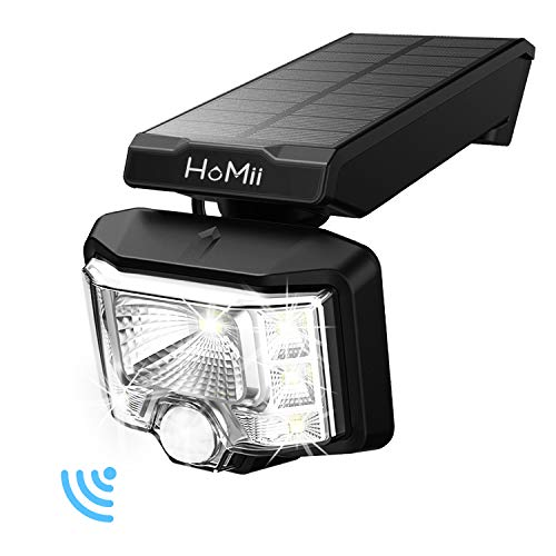 Solar Lights Outdoor,HoMii 8 LED Wireless Motion Sensor Light with 230° Wide Angle,IP65 Waterproof, Easy-to-Install Security Lights for Front Door, Yard, Garage, Deck