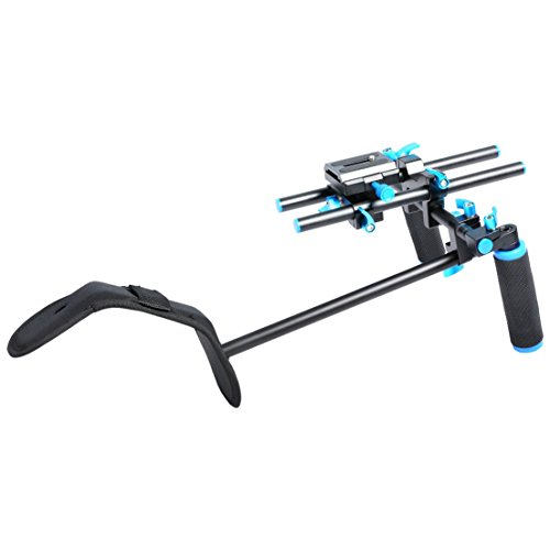 Annsm Professional Video Shoulder Support Rig for for DSLR Camera/Camcorder Such as Sony Nikon Canon with Curved Shoulder Support Pad Wrapped with Cloth, Dual-Hand Handgrips by Annsm