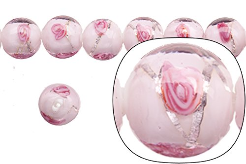 Lamp Worked Glass Bead, Blossom Patterned, Clear on Pink Glass with Silver-colored Lining, 12mm Round Sold Per 15pcs/string