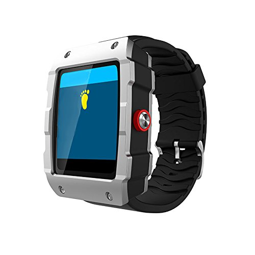 TechComm V18 Bluetooth and GSM Unlocked Smartwatch with Built-in GPS, Fitness Tracker, Pedometer, Sleep Monitor and Built-in Camera - Silver by TechComm