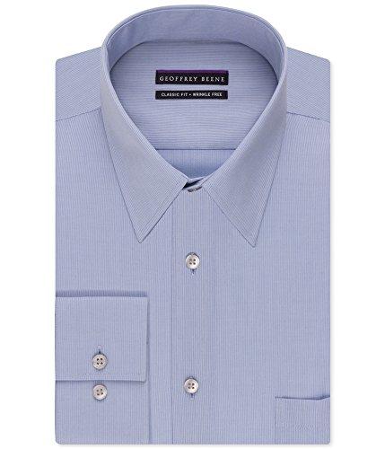 (Geoffrey Beene Men's Regular Fit Textured Stripe Sateen Shirt, ice Blue, 15.5