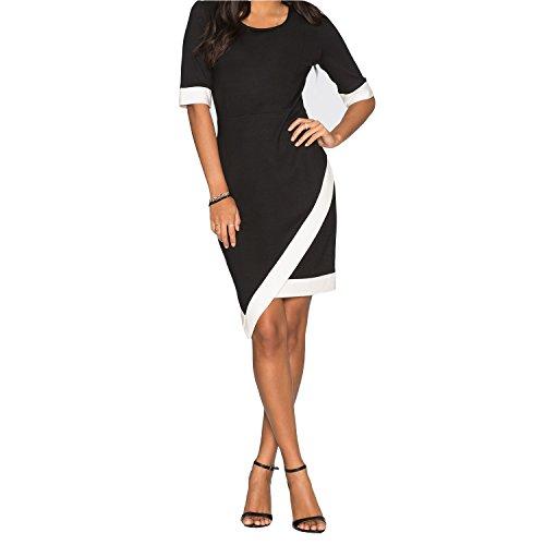 SUNNOW Womens Retro Bodycon Asymmetrical Pencil Cocktail Party Dresses (L, Black)