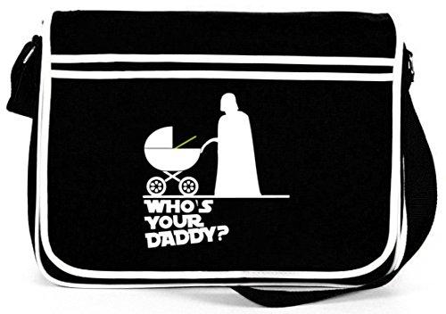 Shirtstreet24, WHOS YOUR DADDY? Retro Messenger Bag Kuriertasche Umhängetasche Schwarz