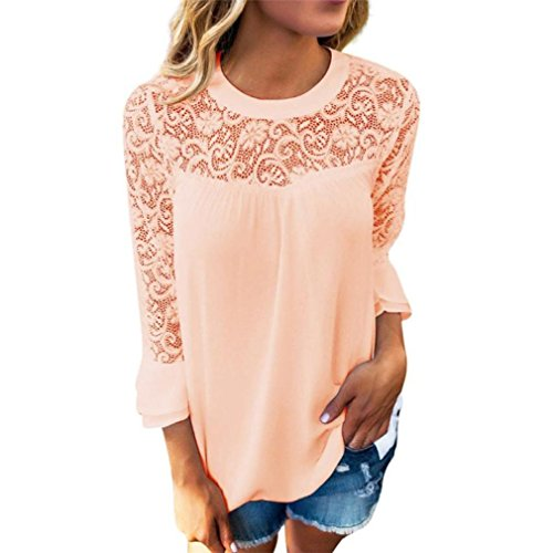 Chiffon Frill Sleeve Top (DaySeventh Women 3/4 Sleeve Frill Tops Chiffon Embroidery Lace Blouse T Shirt (S, Orange))
