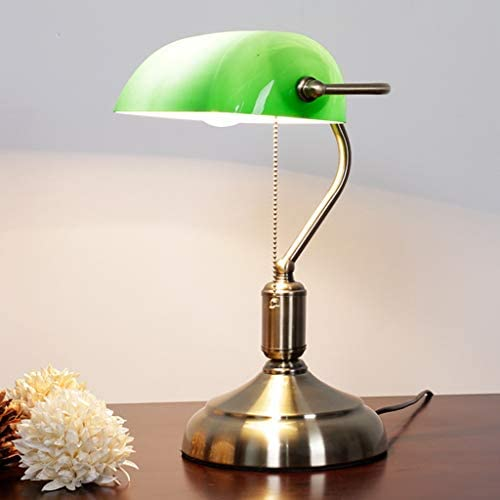 Home Living Desk Lamp Retro Bankers Lamp, Antique Style Desk Light Emerald Green Glass Shade with Satin Brass Base and Metal Beaded Pull Cord Switch Bedroom Table Lamp