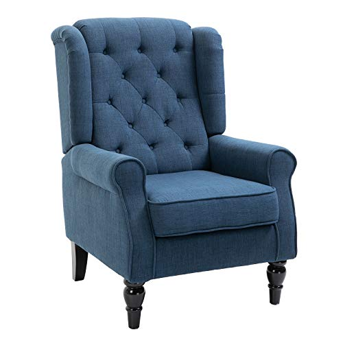 HOMCOM Fabric Tufted Club Accent Chair with Wooden Legs, Blue