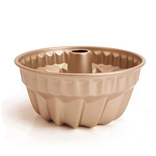 Miragee 7 inch Non-Stick Bundt Pan, Carbon Steel Kugehopf Mold, Easy to Use and Release, Champagne Color