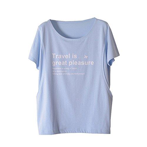 IUGENQL Allattamento Corta Top Cotone Loose Gravidanza Blue1 Maglietta Manica Estive Camicie Donna Pregnancy Moda Comoda Stampa Girocollo Popolare Shirt T 0r08qv
