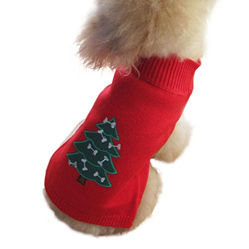 [Dog Clothes,Laimeng, Christmas Pet Dog Puppy High Collar Warm Outwear Sweater Clothes (L, Red)] (Christmas Plaid Dog Collar)