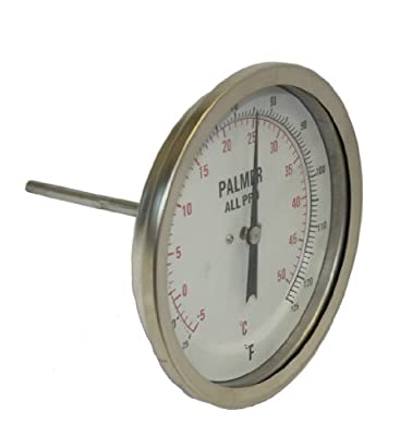 """Palmer 5BCP90/250F&C All Pro Welded Stainless Steel 304 Dual Scale Bimetal Thermometer, 0/250 F and -20/120 C Range, 5"""" Dial, 9"""" Stem, 1/2"""" NPT Connection, Back Mount"""