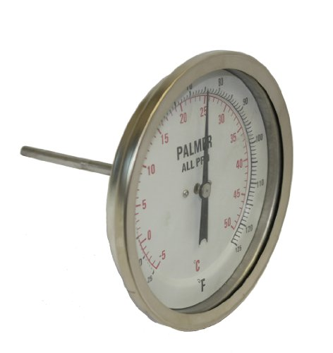 "Palmer 5BCP650/500F&C All Pro Welded Stainless Steel 304 Dual Scale Bimetal Thermometer, 50/500 F and 10/260 C Range, 5"" Dial, 6"" Stem, 1/2"" NPT Connection, Back Mount"