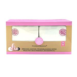 Charlie Banana 10 Reusable Double Sided Wipes, Pink Emb.