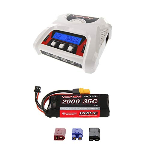 Venom 35C 2S 2000mAh 7.4V LiPo Battery with Universal Plug and Venom 2-4 Cell AC/DC LiPo Battery Balance Charger Money Saving - Cell Reedy Single