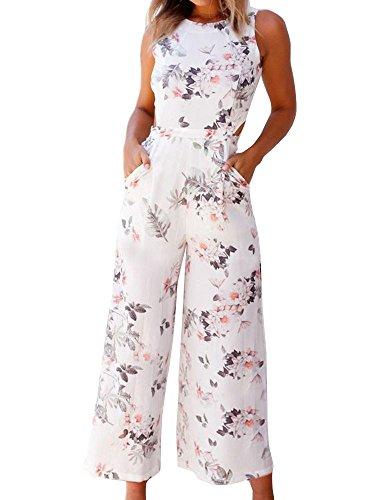 FANCYINN Women Floral Print Backless Long Jumpsuits Playsuit Wide Leg White ()