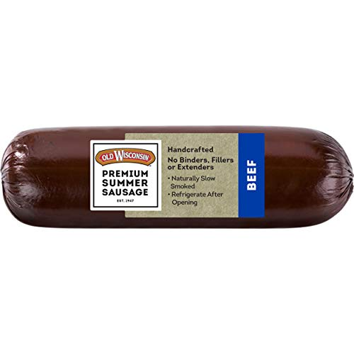 Old Wisconsin Premium Summer Sausage, 100% Natural Meat, Charcuterie, Ready to Eat, High Protein, Low Carb, Keto, Gluten Free, Beef Flavor, 8 Ounce