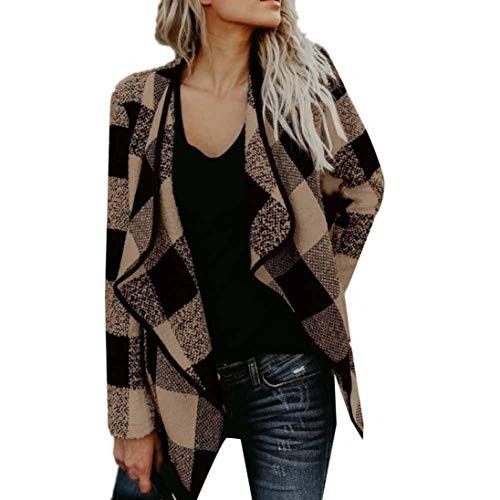 GOVOW Keep Warm Cashmere Cardigan for Women Woolen Patchwork Coat Coat Long Sleeve Turn-Down Collar Jacket