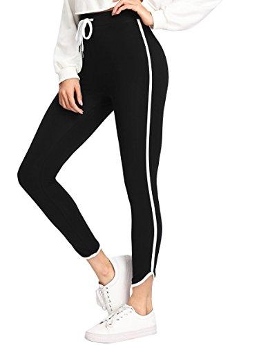 SweatyRocks Women's Skinny Yoga Workout Leggings Striped Side Drawstring Waist Tight Pants Black XS ()