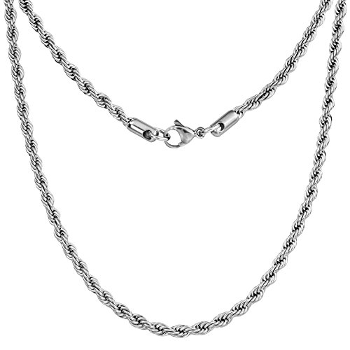 Silvadore 4mm Rope Mens Necklace - Silver Chain Twist Stainless Steel Jewelry - Neck Link Chains for Men Man Male Women Boys Girls - 18