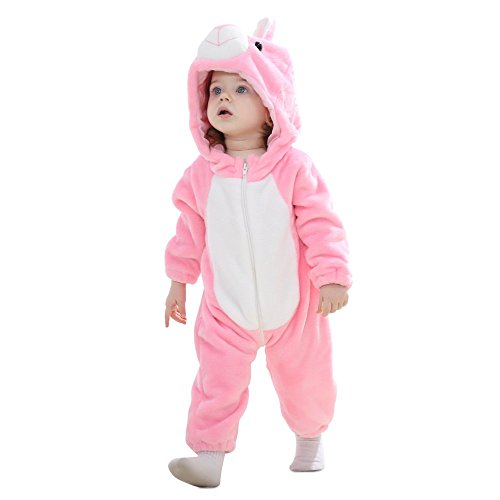 Eden Babe Romper for Baby Girl boy Winter Flannel Onesie Outfits Suit Unisex-Baby (80cm(for Ages 6-12months), Rabbit)