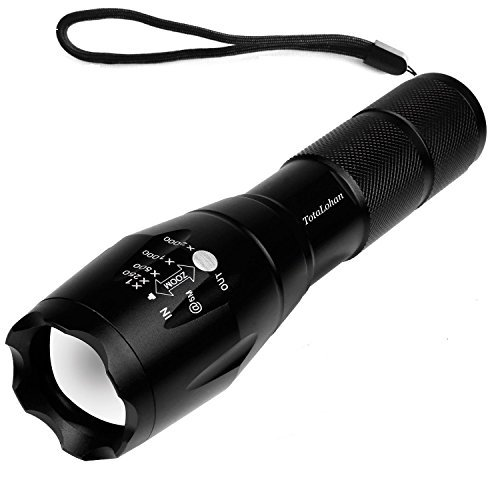 TC1200 Portable Ultra Bright Handheld LED Flashlight with Adjustable Focus and 5 Light Modes, Outdoor Water Resistant Torch