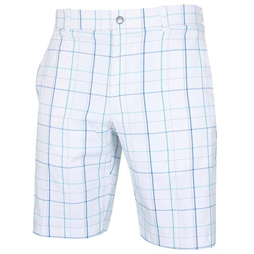 Callaway Golf 2019 Fashion Plaid Flat Front Mens Stretch Golf Shorts Bright White 34