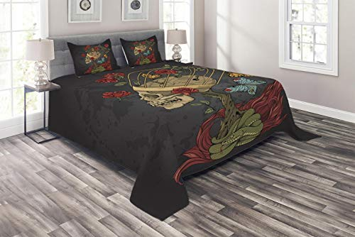 - Ambesonne Skull Coverlet Set King Size, Evil Mexican Sugar Skeleton with Kitsch Bush of Roses Snake and Butterfly Artwork, 3 Piece Decorative Quilted Bedspread Set with 2 Pillow Shams, Ruby Dark Grey