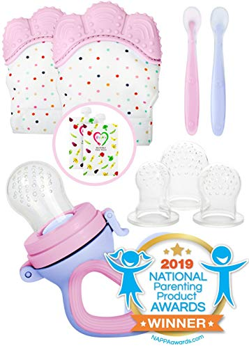 Teething Mittens for Babies with Baby Food Feeder Pacifier   Teether Set Perfect to Soothe Tender Gums   Fruit Feeder Pacifiers Safe Way to Introduce Solid Foods   Ideal Teething & First Baby Feeding from EVLA'S