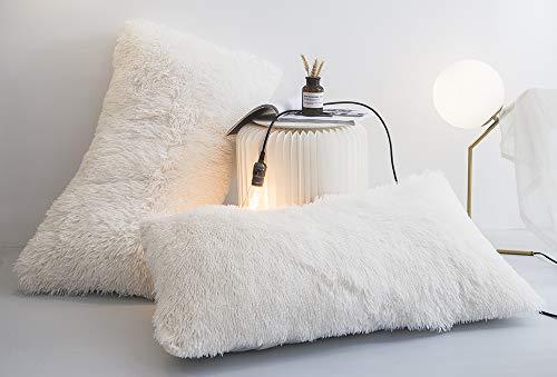 Ceruleanhome 2pc 100% Velvet Flannel Pillow Shams, Solid Color, No Inside Filler (2pc Pillow Cases Fluffy, White) (Shams Fur Faux)