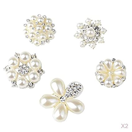 MagiDeal 10 Pieces Assorted Flower Shapes Crystal Rhinestone Buttons  Embellishments Flatback Appliques for DIY Wedding Decoration 0bbd0e7323ee
