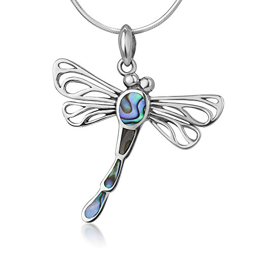 (925 Sterling Silver Open Filigree Abalone Shell Flying Dragonfly Pendant Necklace, 18 inches Chain)