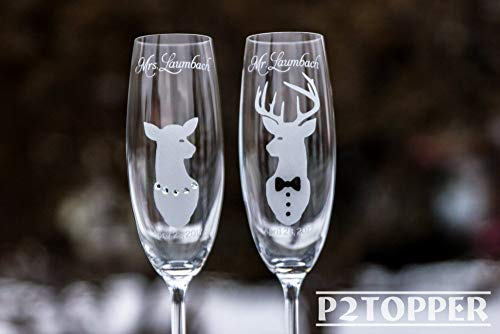 Wedding champagne flutes, country wedding glasses, his doe her buck flutes,hunting glasses,deer champagne glasses,camo wedding,toast -