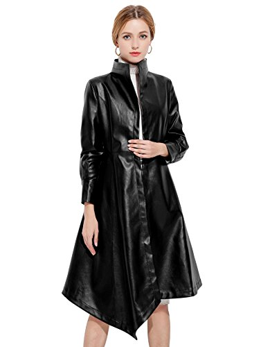 Long Black Leather Coat - 1