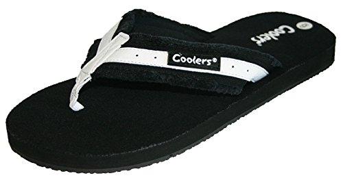 Coolers Women's Toe Post Flip Flop Pool Beach Shoe Sandal Size 3-8 Black 74ul4S