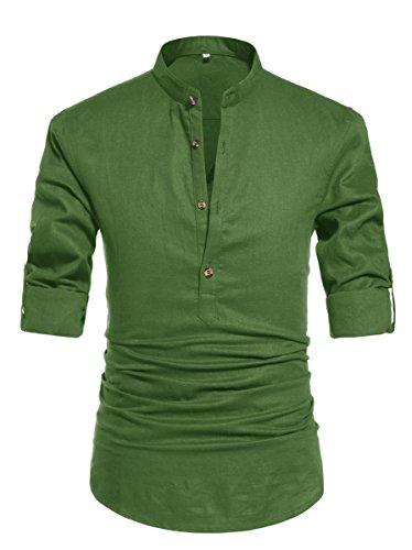 NITAGUT Men Henley Neck Long Sleeve Daily Look Linen Shirts (US XL/Chest 46-49, 09 Army ()