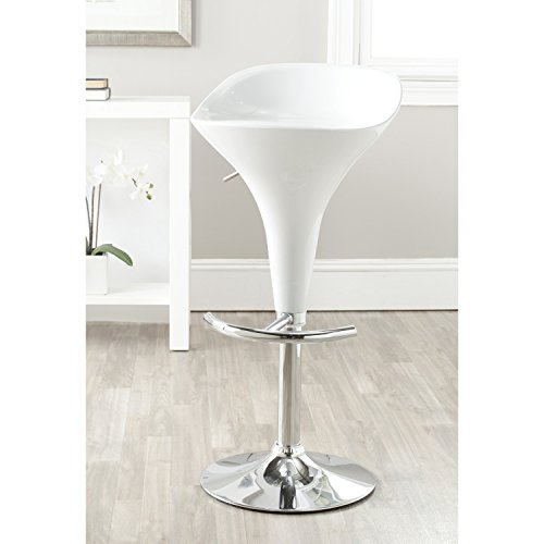 Safavieh Home Collection Yatim White Adjustable Swivel Gas Lift 23.6-32.3-inch Bar Stool