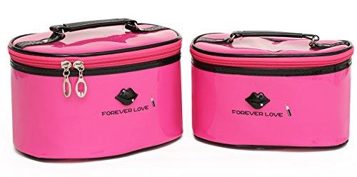 Makeup Bags, HOYOFO 2 Pcs Waterproof Cosmetic Bag Set PU Lea