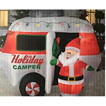 gemmy 6 ft holiday santa with camper trailer inflatable yard art
