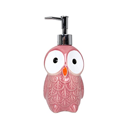 Soap Dispenser Pink (Bodico Ceramic Owl Soap and Lotion Dispenser, 3 x 3 x, 3 x 8 inches, Pink)
